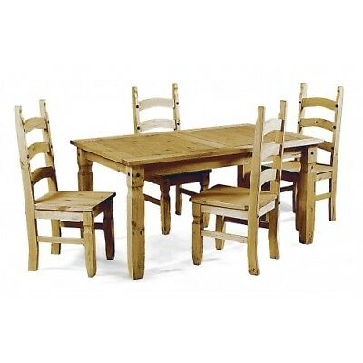 Corona 4' Dining Table and 4 Chairs Set Mexican Solid Pine by Mercers Furniture®