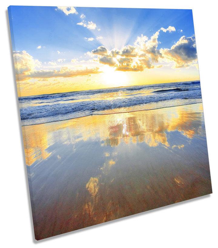 Sunset Beach Australia Seascape Seascape Seascape SQUARE CANVAS WALL ART Print Picture 5aa8fe