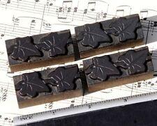 4x Ivy Wood Letterpress Ornaments Wooden Printing Block Type Art Nouveau Deco