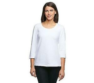 Denim-amp-Co-Essentials-Perfect-Jersey-3-4-Sleeve-Round-Neck-Top-White-Large-L