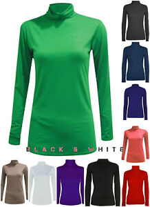 Womens Turtle Neck Long Sleeve Casual Ladies Polo Stretch Plain T-Shirt Vest Top