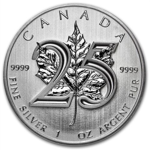 2013 Canadian $5 Maple Leaf 25th Anniversary 1 oz .9999 Silver Coin