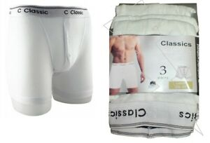 New Men's All White Classic Sport 3 Pair Pack Cotton Rich Boxer Shorts Underwear