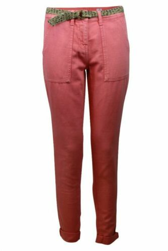 Womens Ladies Coral Blue Linen Blend Casual Tapered Leg Trouser with Belt