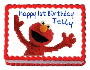 Image Is Loading Sesame Street ELMO Edible Party Cake Topper Decoration