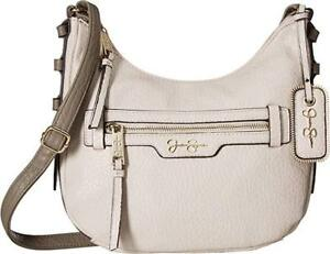 NWT-Jessica-Simpson-Everly-Top-Zip-Cross-Body-Parchment-Fog-Color-MSRP-78-00