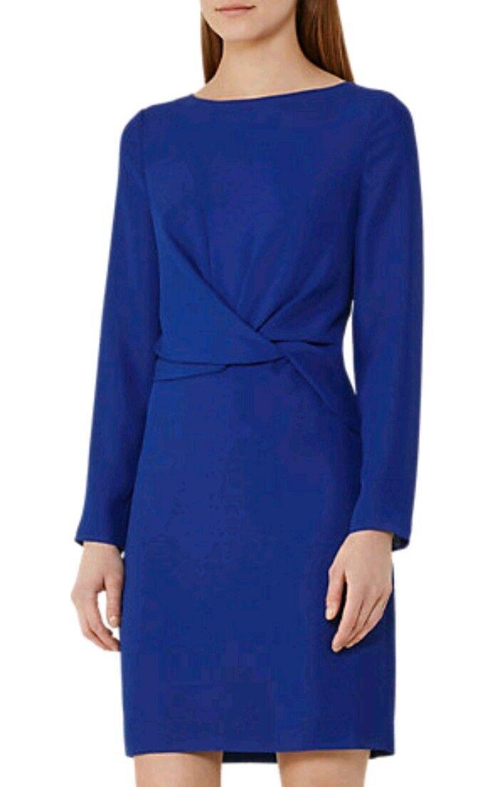 Designer REISS Elle shift dress Größe 8 --BRAND NEW-- long sleeve knot front Blau