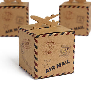 Image Is Loading Rustic Airplane Airmail Vintage Shabbychic Wedding Favour Bo