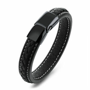 Men-039-s-Leather-Bangle-Cuff-Bracelet-Stainless-Steel-Magnetic-Clasp-Gift-Bag