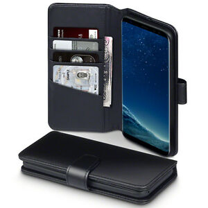 Samsung-Galaxy-S8-PLUS-Real-Leather-Wallet-Folio-Book-Case-Black-Classic-Series