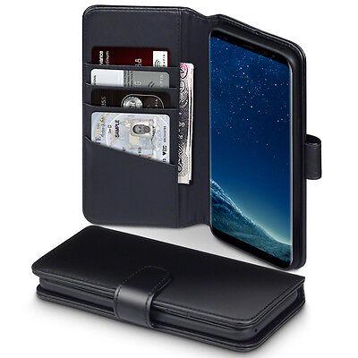 Real Leather Wallet Originale A Mano Custodia Samsung Galaxy S8 Nero Plus-