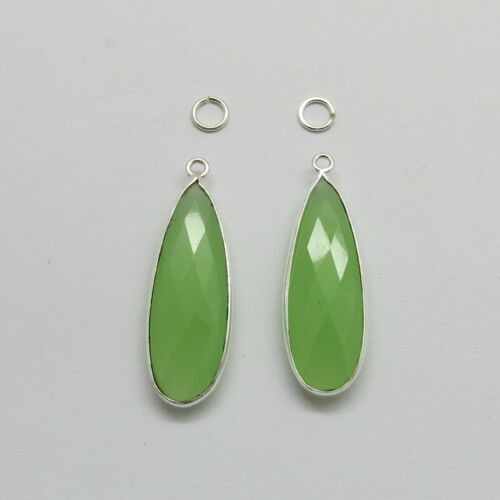 2 Pieces Faceted Gemstone Pear 10x31mm Bezel Charm Connector Earrings Pendant