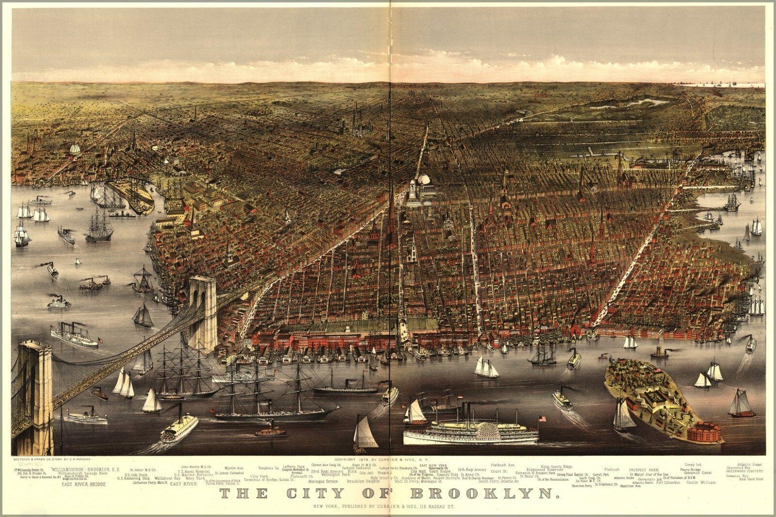 Poster, Molte Molte Molte Misure; Mappa Del City Of Brooklyn ff3c30