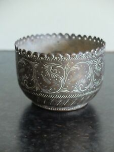 Small-vintage-Middle-Eastern-Indian-patterned-brass-bowl