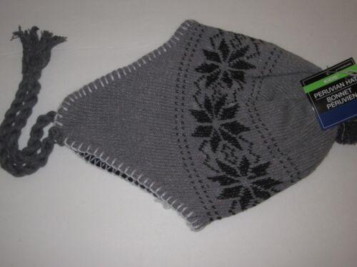 Peruvian Knit Hats Lined w//Soft Cotton Toboggan Hat Child/'s Size Tie On Hat