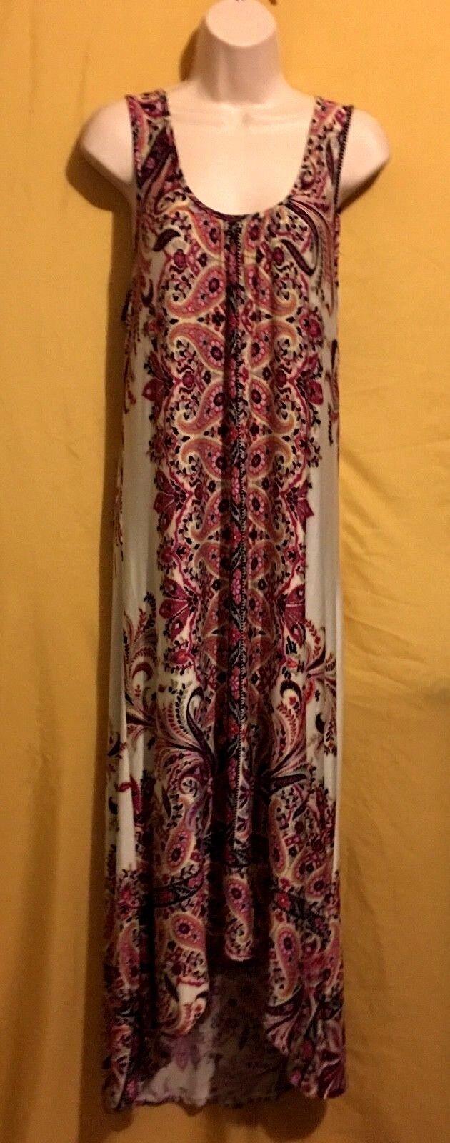 Live & Let Live women's multi cream paisley high low maxi dress long L XL  68