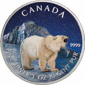 Kanada-5-Dollar-Silber-Spirit-Baer-2011-Wildlife-Silbermuenzen-Serie-in-Farbe