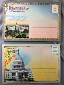 1940s-WASHINGTON-DC-Library-of-Congress-US-CAPITOL-ART-Postcard-Folder-VINTAGE