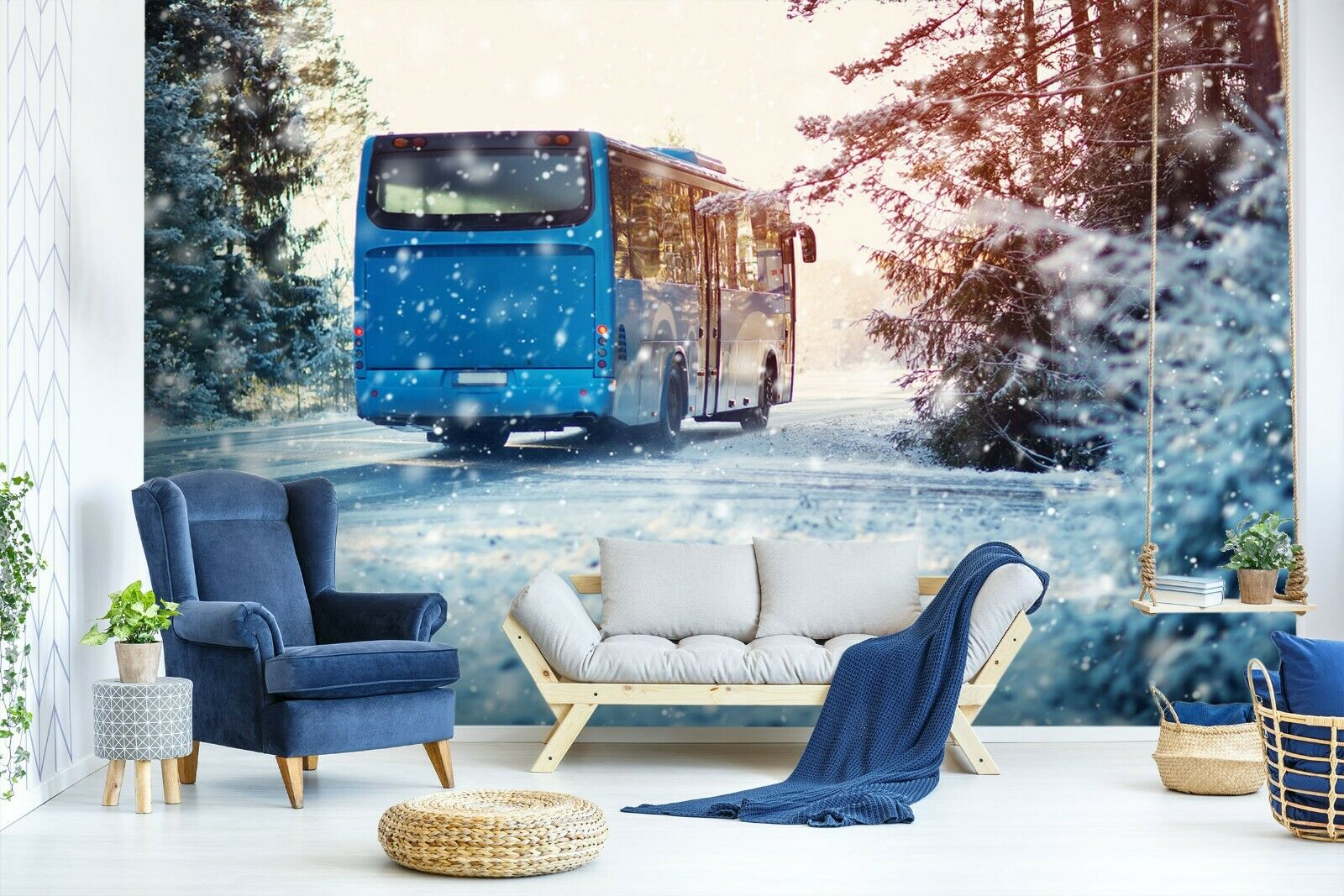 3D Bus Snow Trees B368 Transport WandPapier Mural Self-adhesive Removable Wendy
