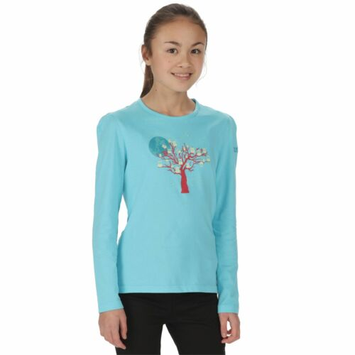 Regatta Whiteshaw Kids Girls Cotton Long Sleeve Printed T-Shirt Blue RRP £15