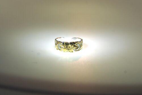 6MM 2-TONE YELLOW GOLD PLATED 925 STER SILVER HAWAIIAN PRINCESS SCROLLS TOE RING