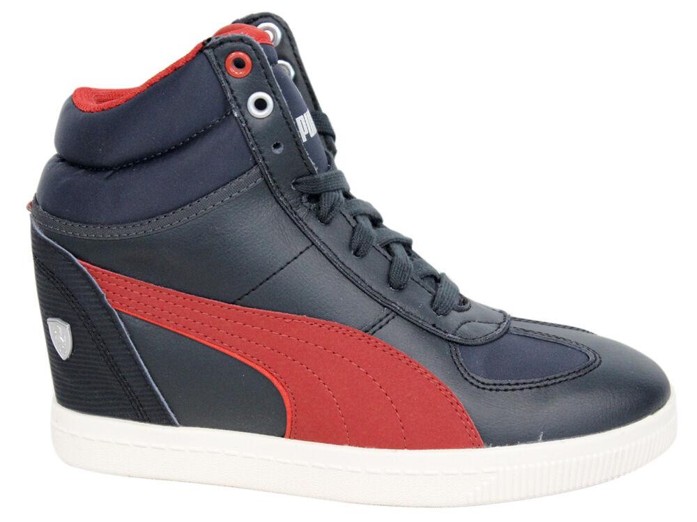Puma SF Keil Auswahl Ferrari Damen Schuhe schwarzes Leder 305519 01 P1