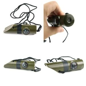 7 in 1 Military Emergency Survival Whistle Kit LED Light Thermomet Compass