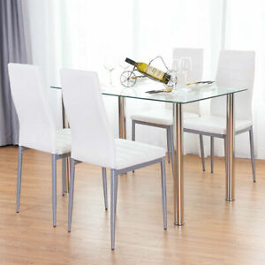 5-Piece-Dining-Set-Table-and-4-Chairs-Glass-Metal-Kitchen-Breakfast-Furniture