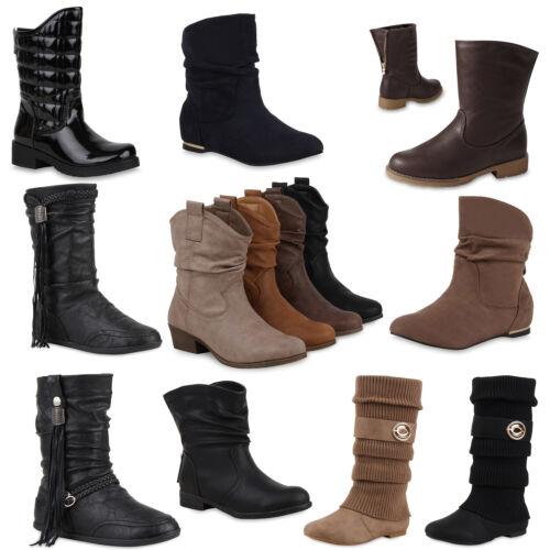 Damen Stiefeletten Schlupfstiefel Klassische Boots Blockabsatz Schuhe 890460 Top