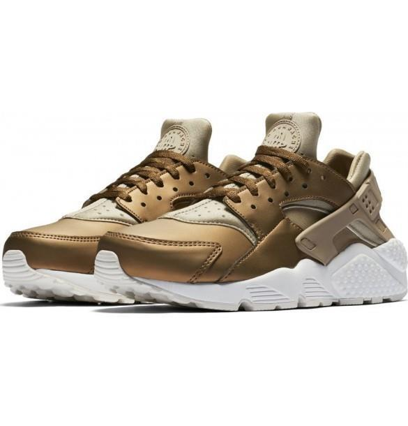 NIKE WMNS AIR HUARACHE RUN PRM TXT AA0523 201 KHAKI METALLIC FIELD SUMMIT WHITE