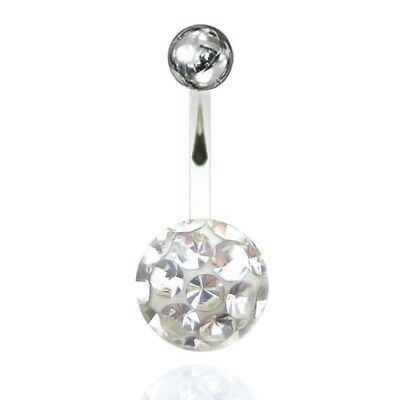 USA Stainless Rhinestone Crystal Belly Button Bar Ring Piercing nombril Flower