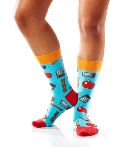 Yo Sox Women/'s Crew Socks  Teacher Design   Fits Sizes 6-10