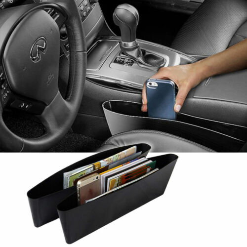 2pc Car Seat Side Pocket Catch Box Caddy Storage Bag Holder Slit Organiser Black