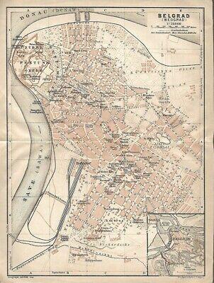 Original 1911 Streetcar Map Belgrade Fortress Serbia Danube Sava