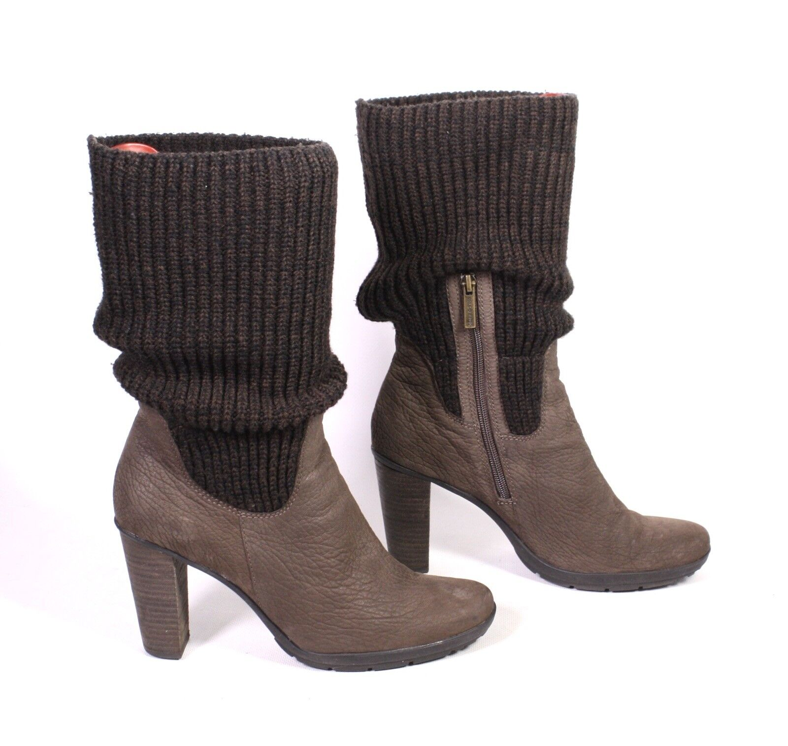 21S Marc O'Polo O'Polo O'Polo Damen Stiefel Sock-Boots Leder braun Gr. 40 (6,5) Strickbesatz 0af600
