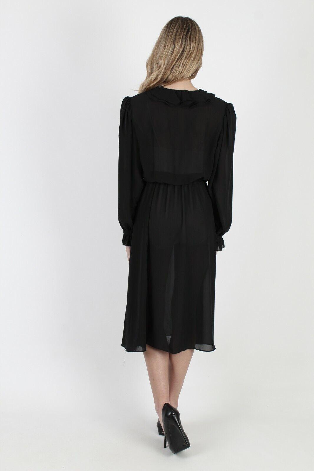 Vtg 80s Black Tuxedo Dress Sheer Ruffle Front Bel… - image 5