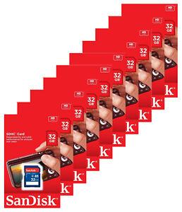 Lot-of-10-x-SanDisk-32GB-SDHC-Class-4-SD-Flash-Memory-Card-Camera-SDSDB-032G-B35
