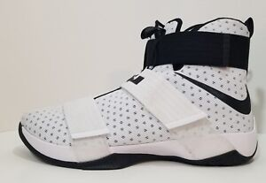 14d95a08d96 Nike Lebron Soldier X 10 Mens Basketball Shoes White Black Size 17 ...
