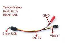 5-pin FPV Cable Video Output/5V Power Supply for HD 1080P DIY Mate 808 FPV DVR