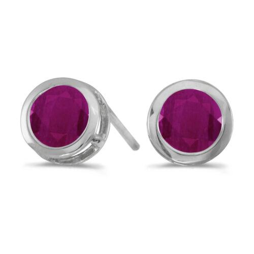 14k White Gold Round Ruby Bezel Stud Earrings