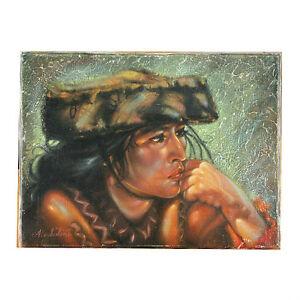 """"""" Andian Indien Femme """" Par Anthony Sidoni Signée Huile Sur Toile 22.9cmx30.5cm Nous Prenons Les Clients Comme Nos Dieux"""