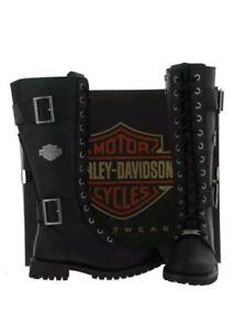 moto pelle davidson D87082 Harley Stivali neri da alti da punta in a donna lunga tpqCYw