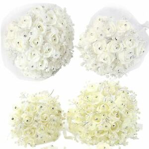Image Is Loading Bride And Bridesmaids Bouquets Foam With Diamante