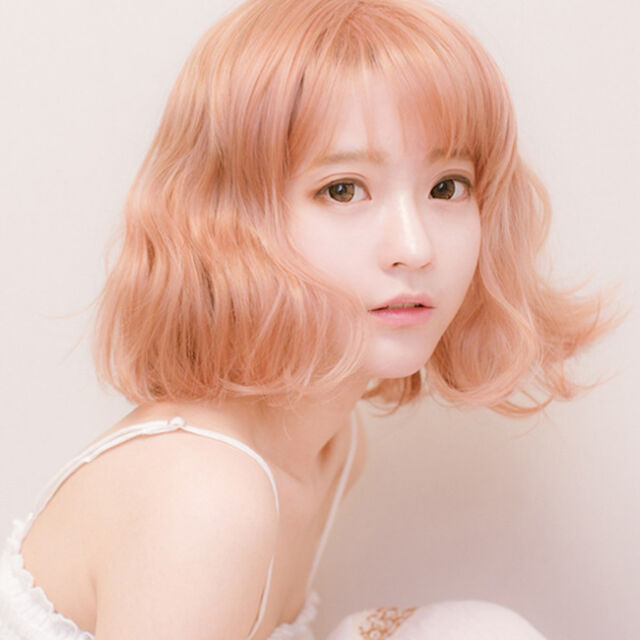 Womens Short Wavy Curly Pink Ombre Hair Cosplay Costume Anime Lolita Fashion Wig