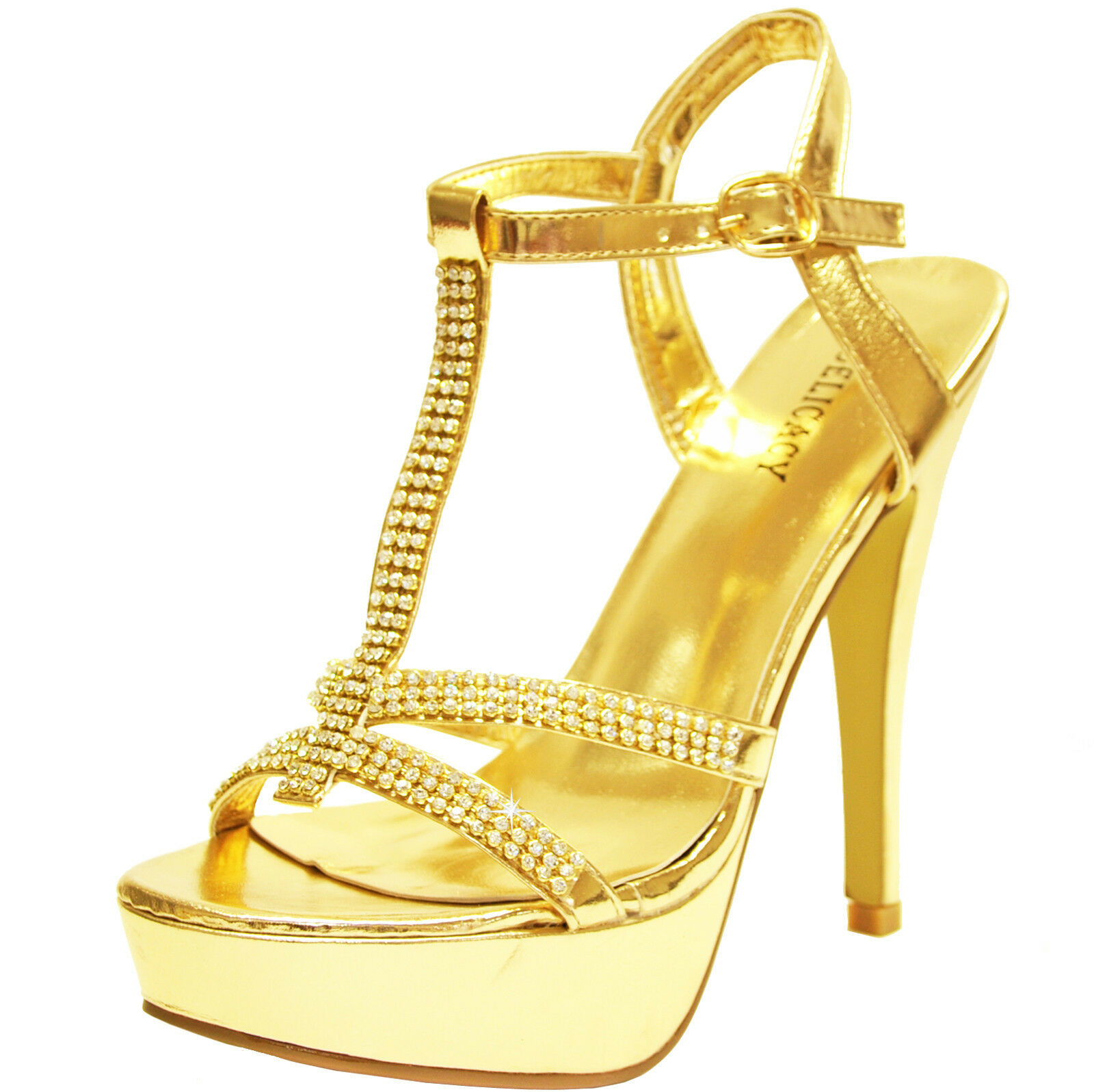 New women shoes rhinestones stilettos open toe formal evening prom wedding gold