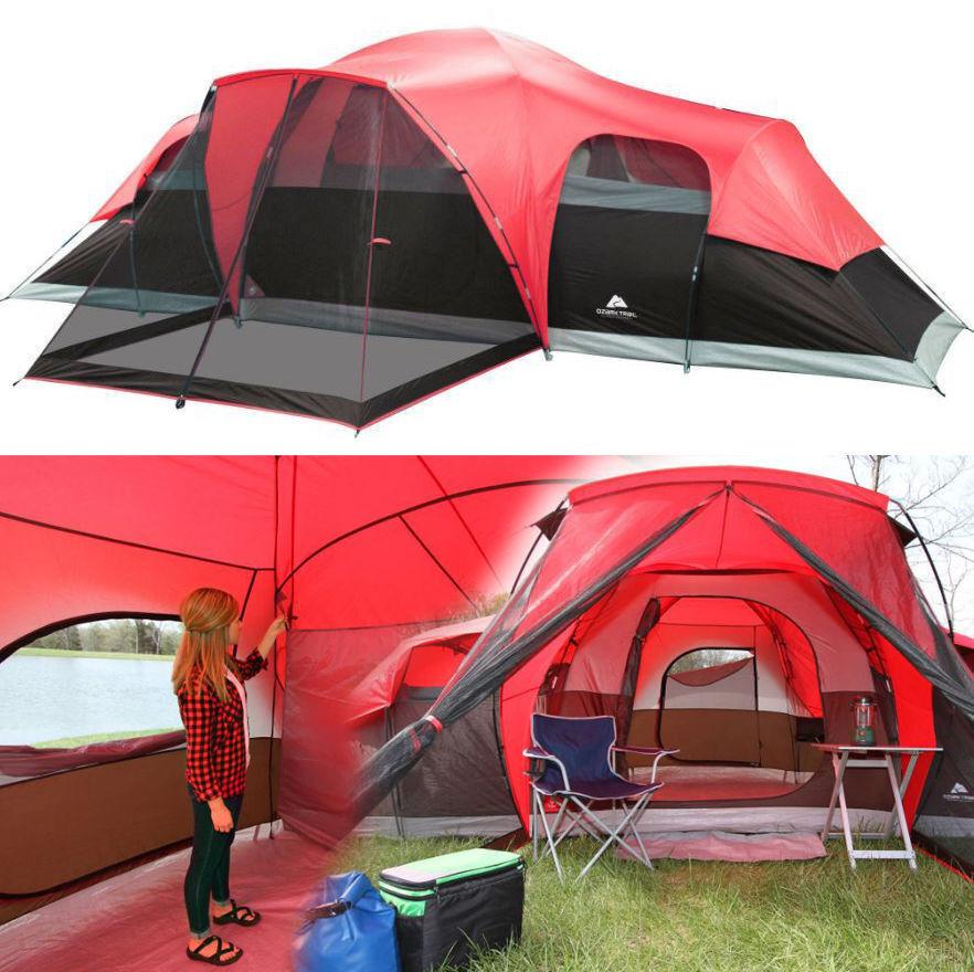 Familia de 10 personas Camping Carpa Cabaña 3 habitación Impermeable Ozark Trail extraíble