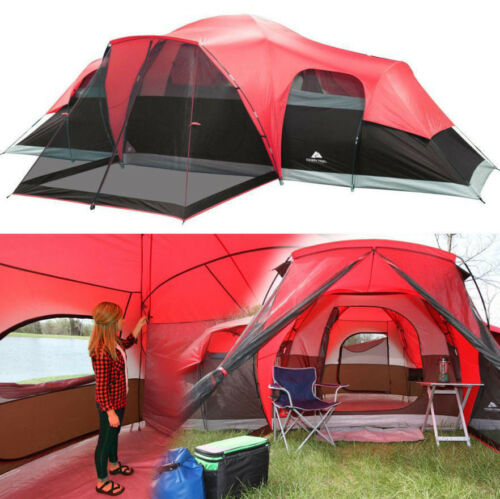 10-Person Family Camping Cabin Tent 3 Room Waterproof Ozark Trail Removable
