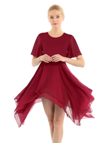 Lyrical Women Lady Round Neck Asymmetric Chiffon Modern Skirt Ballet Dance Dress
