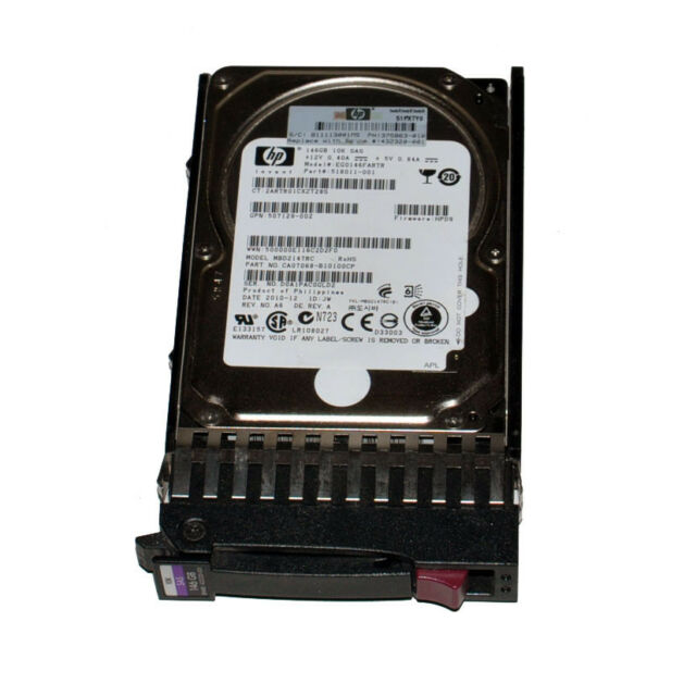 "HP EG0146FARTR 146GB  10K RPM 2.5"" SAS Hard Drive With Tray P/N: 518011-001"