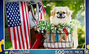 2016-Jigsaw-Puzzle-500pc-All-Amrican-Pup-Flag-Dog-18-25-034-X11-034-NEW-TY50